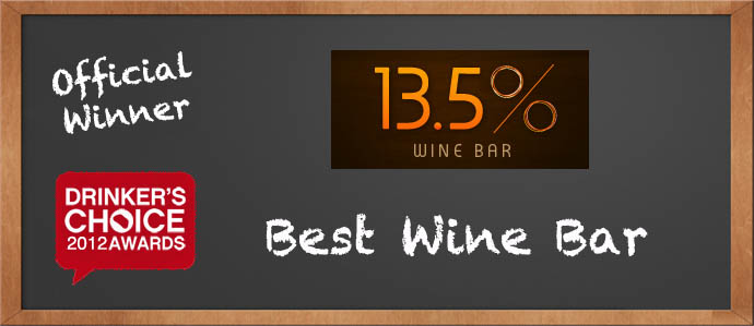 Drinker's Choice Winner, Best Wine Bar: 13.5% Wine Bar